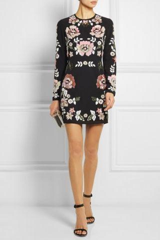 Robe courte noire à fleurs Needle & Thread - ClicknDress