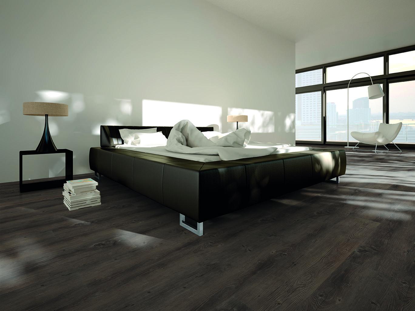 Fußboden Vinyl Holzoptik ~ Klick vinyl dielen kv rocky pine in edler dunkler holzoptik sind