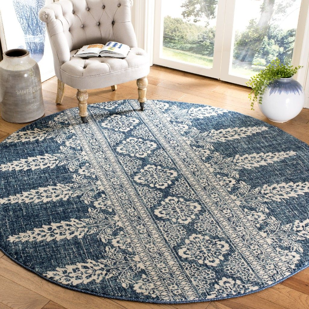 Evoke Collection 6 7 X 6 7 Round Rug In Royal And Ivory