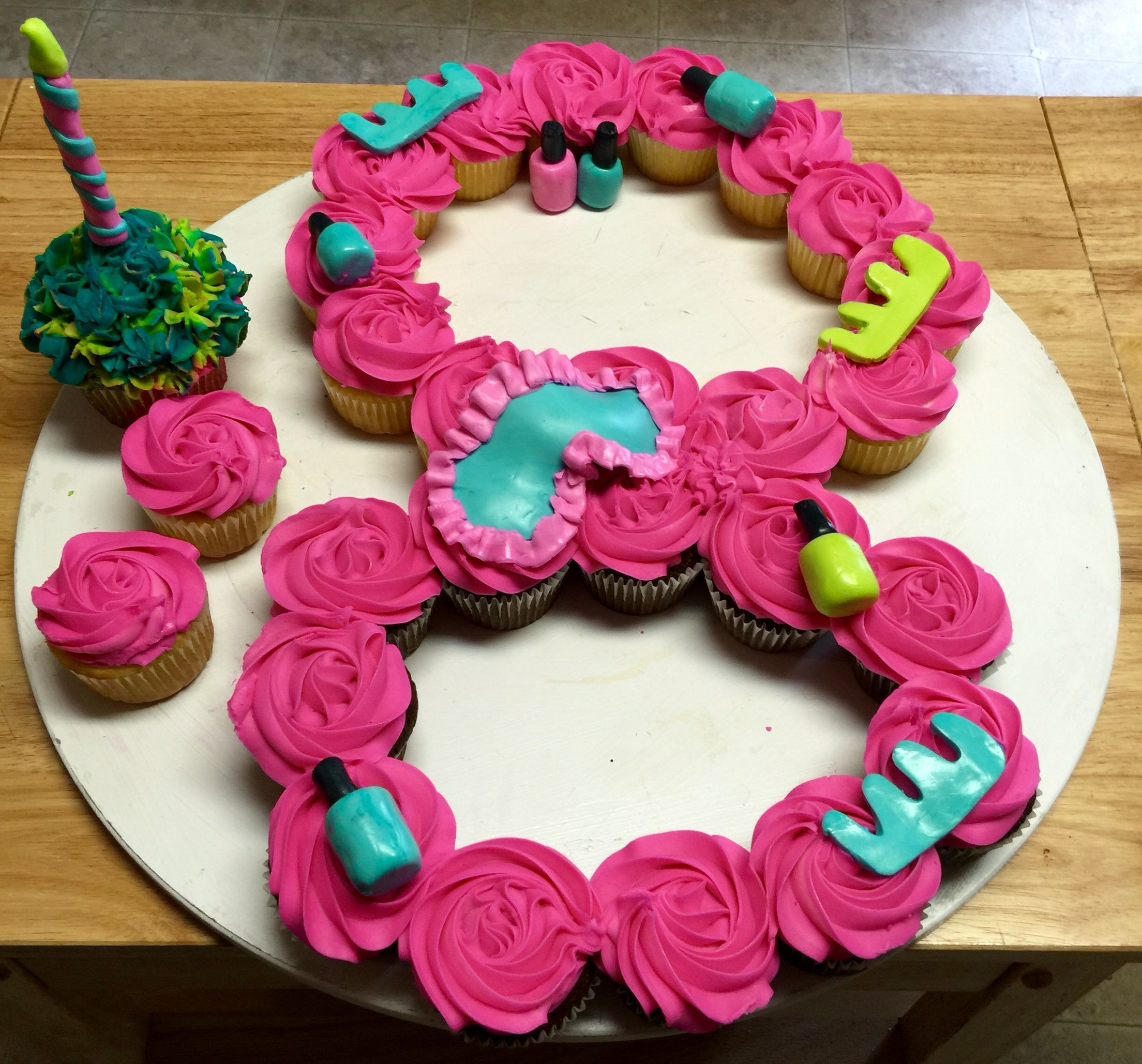 Spa Themed Number 8 Eight Pull Apart Cupcake Cake With Images