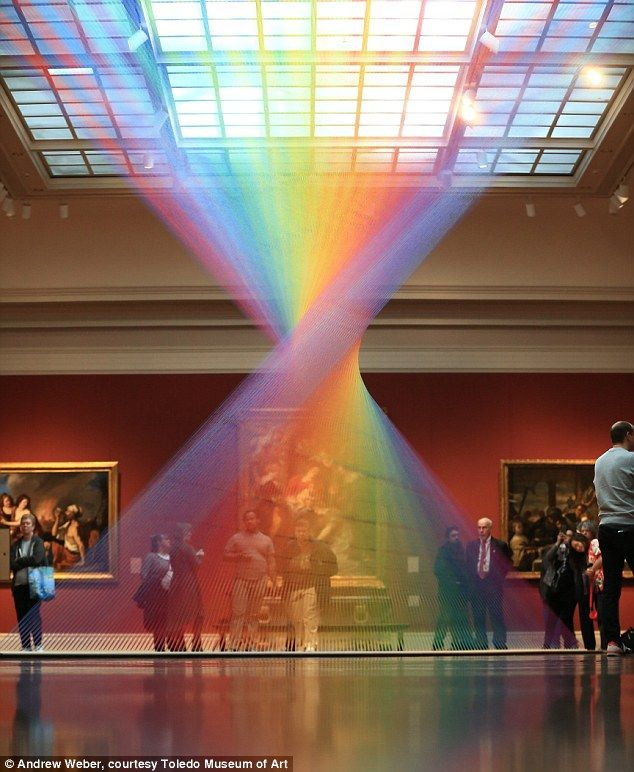 The spectacular INDOOR rainbow in the centre of an art gallery
