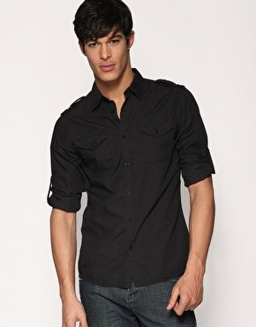 black military-style shirt & blue jeans / men fashion | klas-ee ...