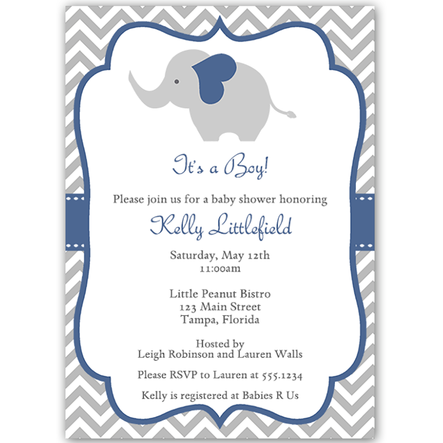 Chevron elephant navy baby shower invitation boy baby showers invite guests to your boy baby shower with this blue and gray chevron striped invitation featuring an elephant filmwisefo Image collections