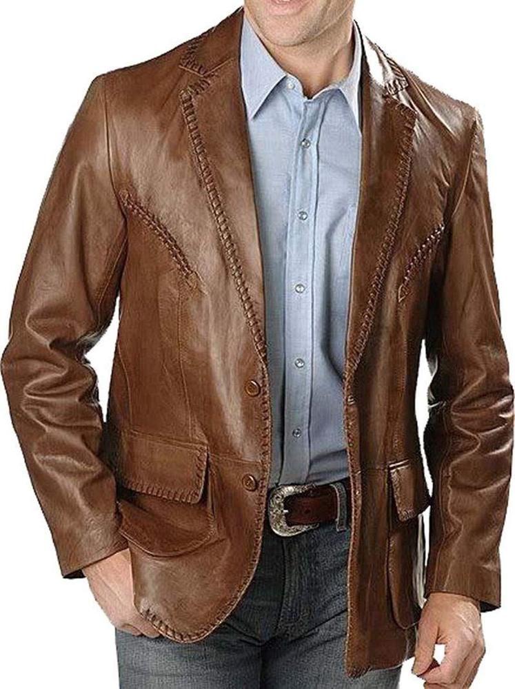 Mens Genuine Lambskin Two Button Leather Blazer Coat