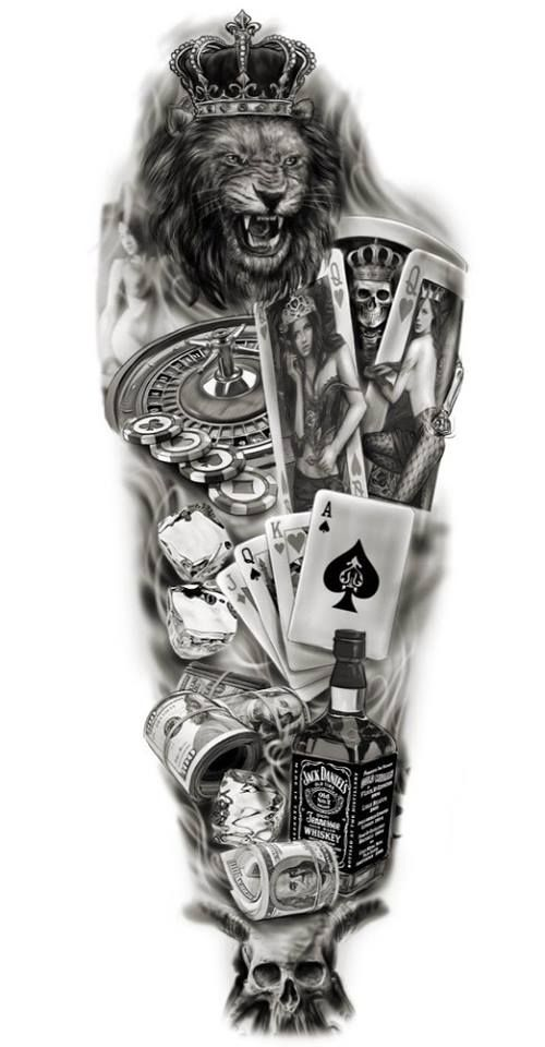 full sleeve custom design tattoo lion gambling playing cards jack daniels whickey art. Black Bedroom Furniture Sets. Home Design Ideas