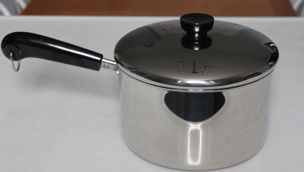 Revere Ware 4 Qt Sauce Pan Pot Tri-Ply Disc Bottom - Stainless Steel USA -  EX!! #Revere
