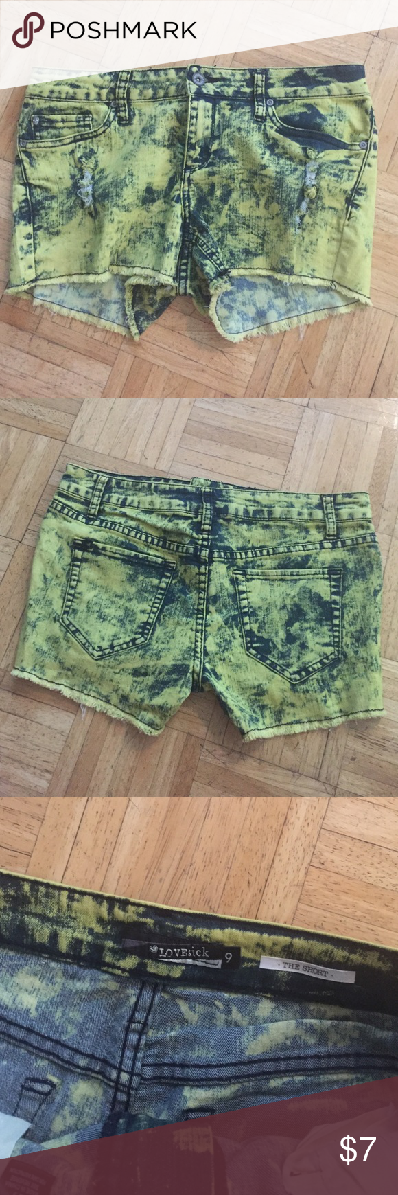 LOVEsick Yellow Blue Acid Was Size 9 Shorts LOVEsick Yellow Blue Acid Was Size 9 Shorts. Worn maybe once or twice. Practically new. 4 pockets. 1 little pocket. Hot Topic Shorts Jean Shorts