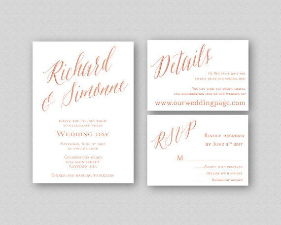 rose gold wedding invitation template printable wedding invitation
