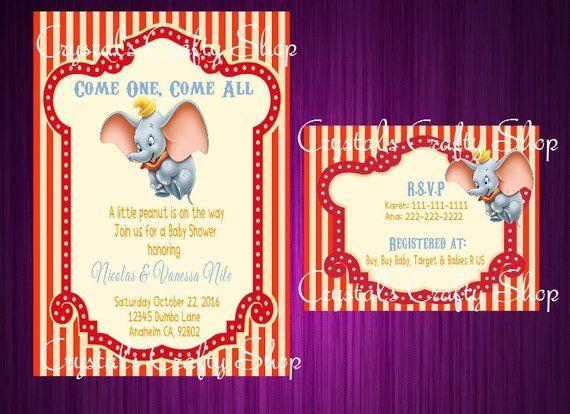 Dumbo Baby Shower Invitations In 2019