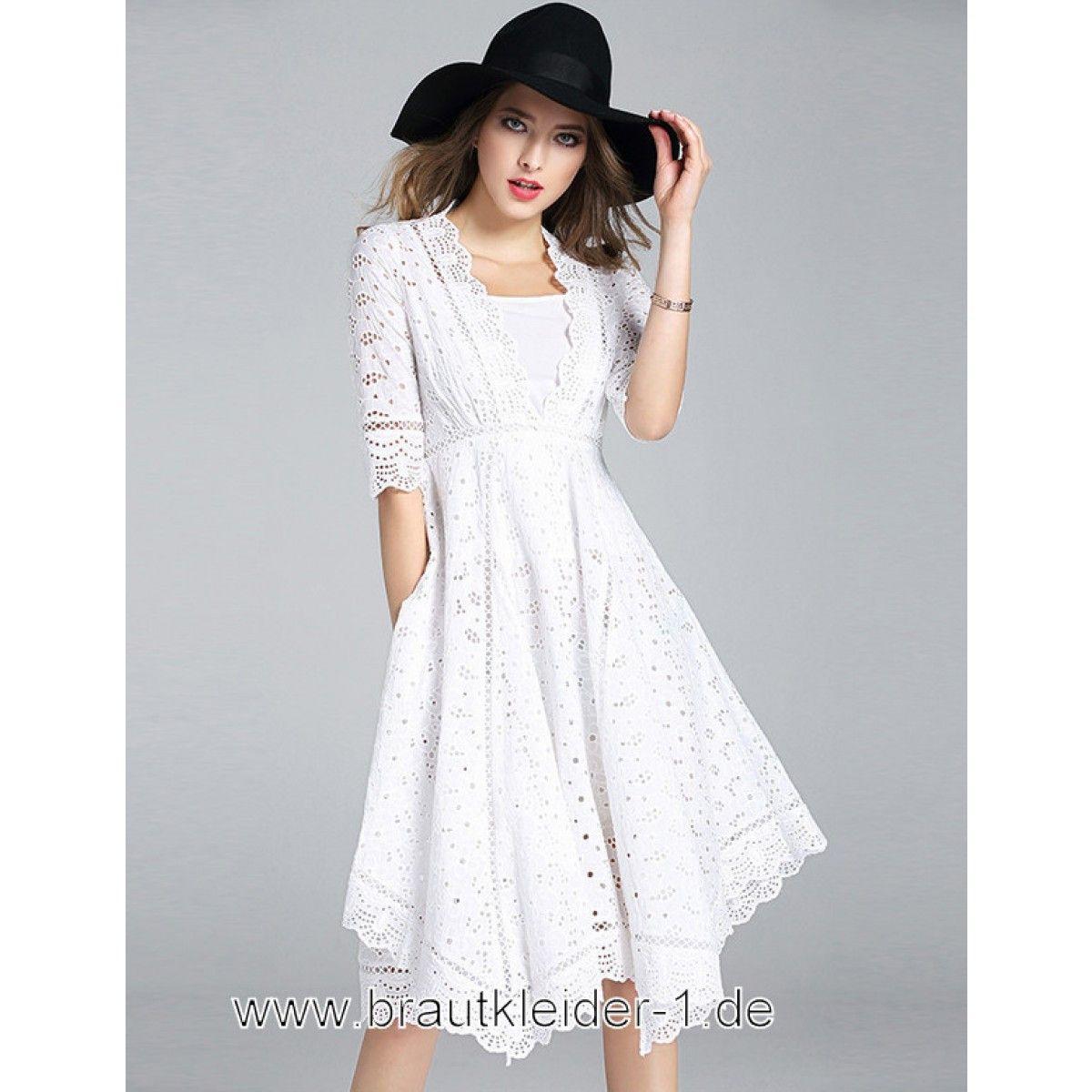 Standesamt Kleid Weiß Lovely Midi Cutout Standesamt Kleid In Weiss