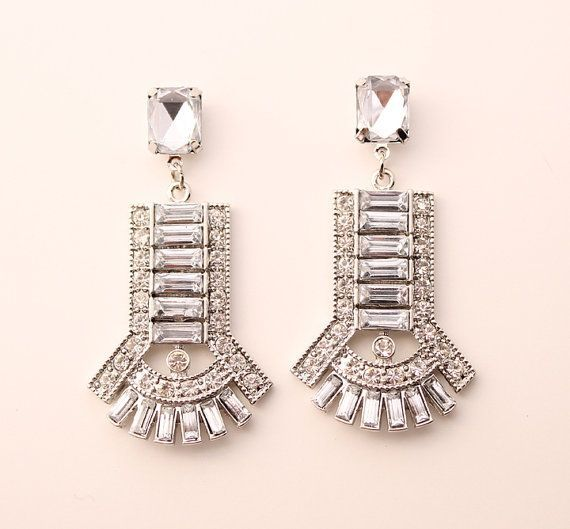 Art Deco Wedding Earrings Chandelier Bling Jewelry Bridal Accessory Great Gatsby Old Hollywood