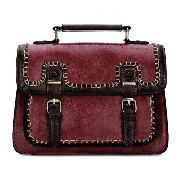 Yoins Burgundy Batchel Bag with Contrast Trims and Magnetic Closure (€38) ❤ liked on Polyvore featuring bags, handbags, yoins, burgundy, satchel handbags, red purse, red handbags, top handle satchel handbags and purse satchel