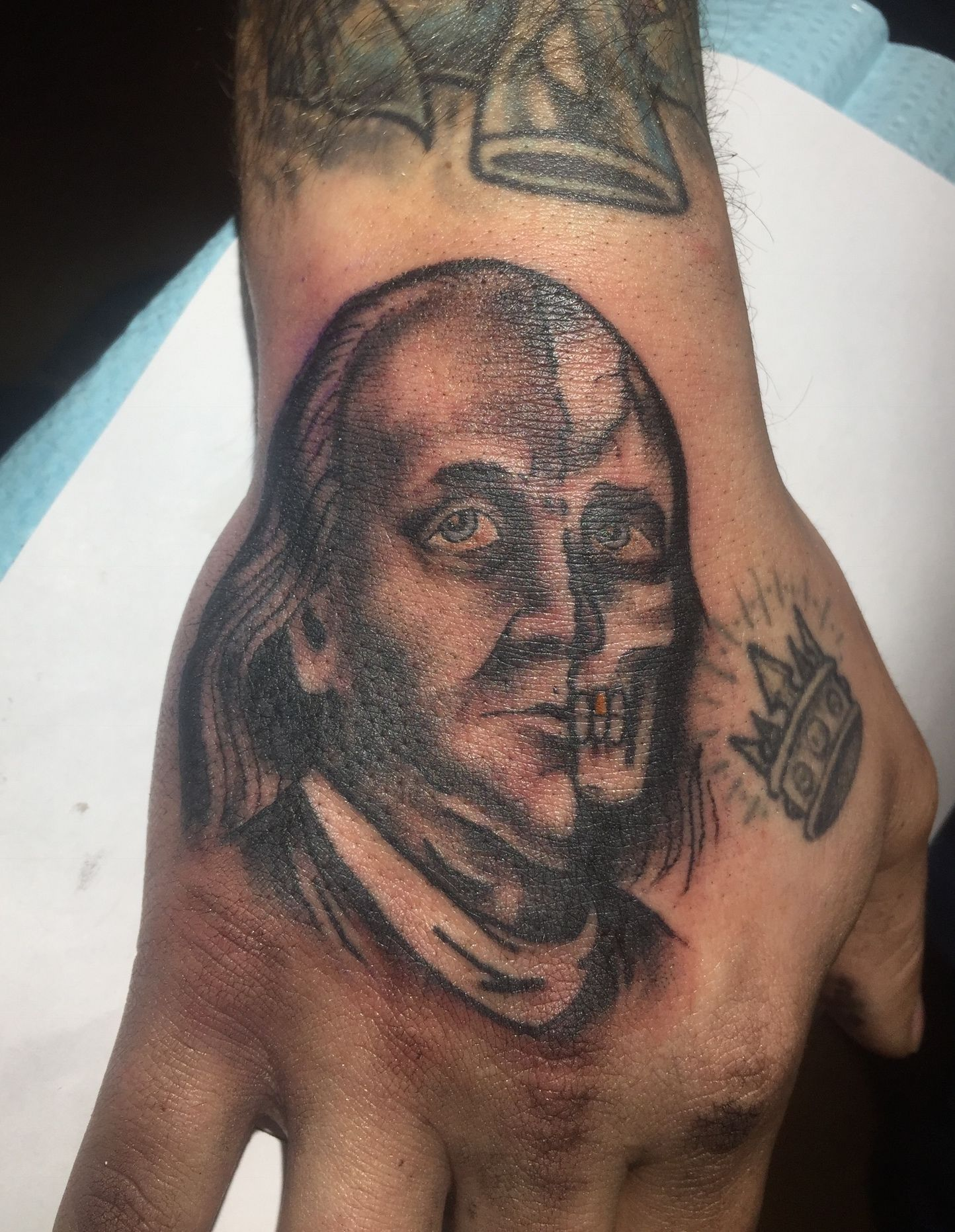 Two faced benjamin franklin tattoo made by jef wright jef two faced benjamin franklin tattoo made by jef wright buycottarizona