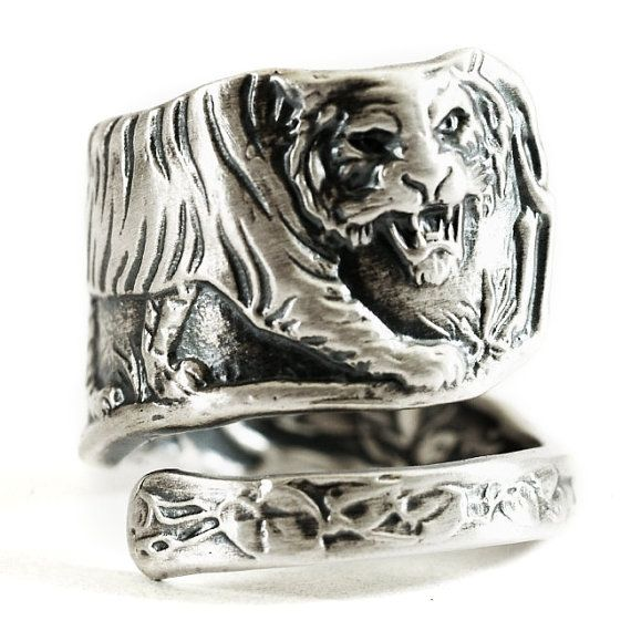 Tiger Ring Sterling Silver Spoon Ring Cat Lover Gift Big Sterling Silver Spoon Ring Silver Spoon Ring Spoon Rings