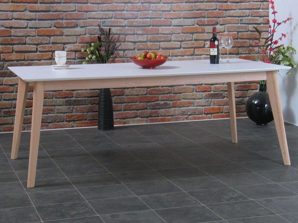 Esstisch Inger 200x100cm Holz Retro Esszimmer Tisch Küchentisch Eiche Weiss