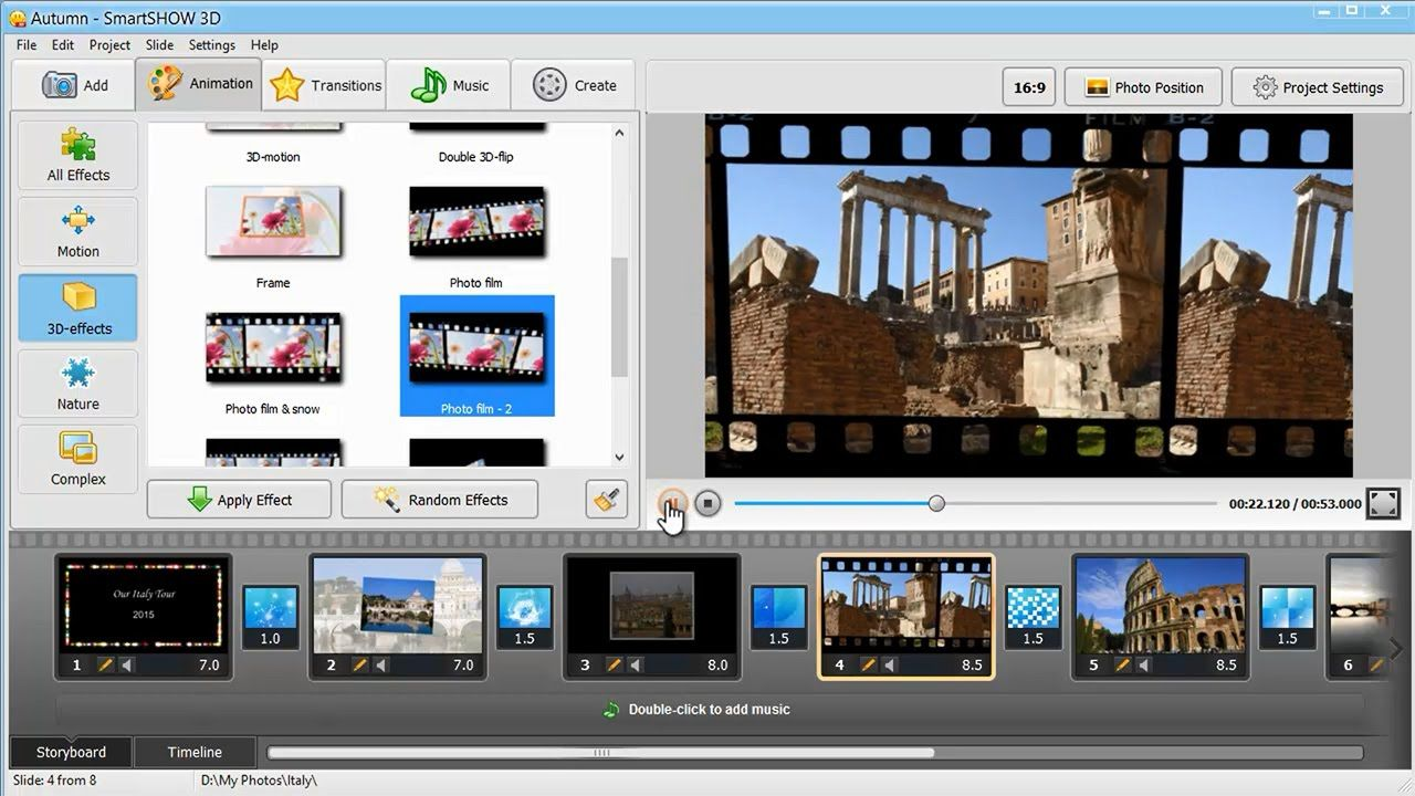 check out how to make a photo slideshow with music and 3d animation