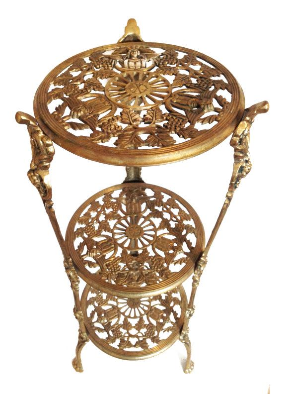 Ornate Brass Plant Stand Brass End Table Hollywood