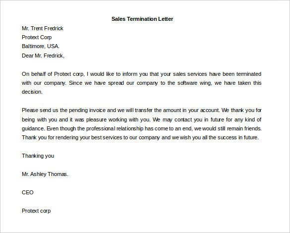 free termination letter template word documents download printable - free termination letter