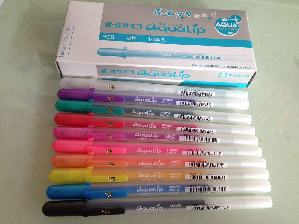 Sakura Aqualip Gellyroll Glossy gel pen 0.8mm x10pcs (Choice of color) FREE  SHIP