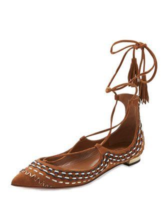 Christy Folk Suede Ankle-Wrap Flat, Cognac by Aquazzura at Bergdorf Goodman.