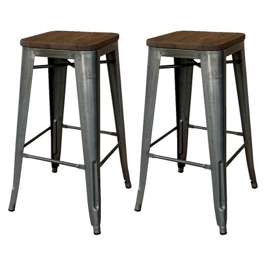 Set Of 2 29 Hampden Industrial Wood Top Barstool Natural Metal Threshold Industrial Counter Stools Metal Bar Stools Bar Stools