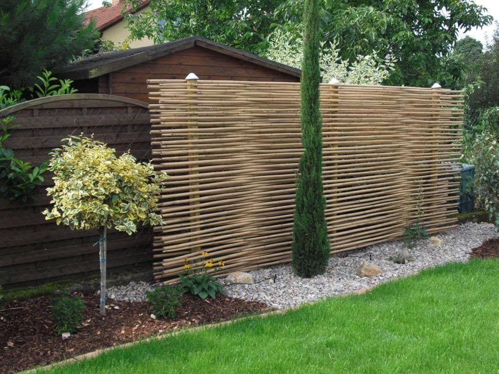 Mediterraner Garten Bilder Sichtschutz aus Bambus als