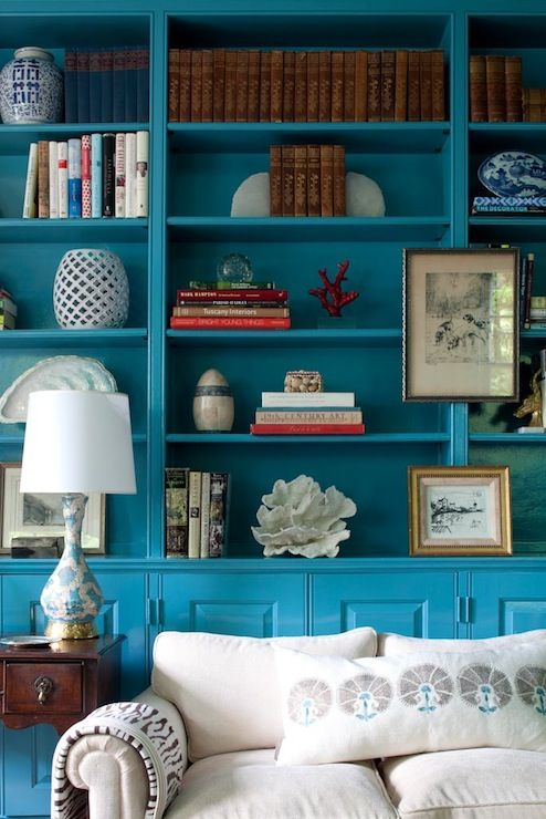 Lovely Library Turquoise Blue Painted Built In Cabinets
