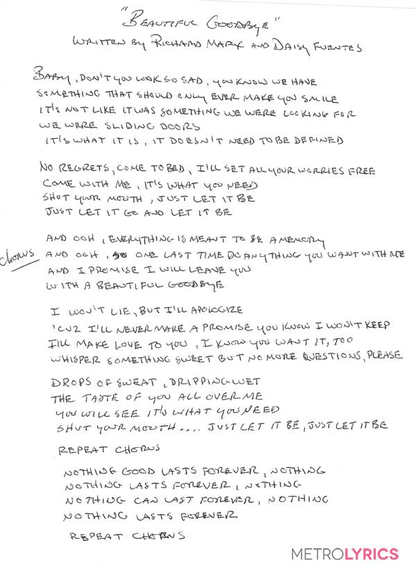Lyric new song lyrics : Richard Marx's handwritten lyrics to his NEW song ...