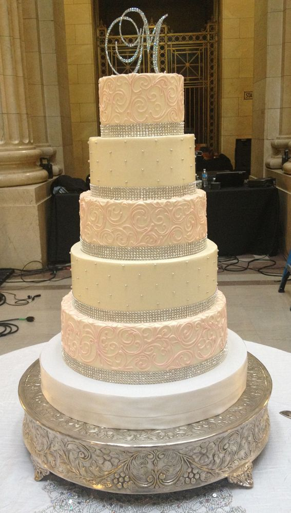 The Corinne Buttercream wedding cake with monogram topper | Fancy ...