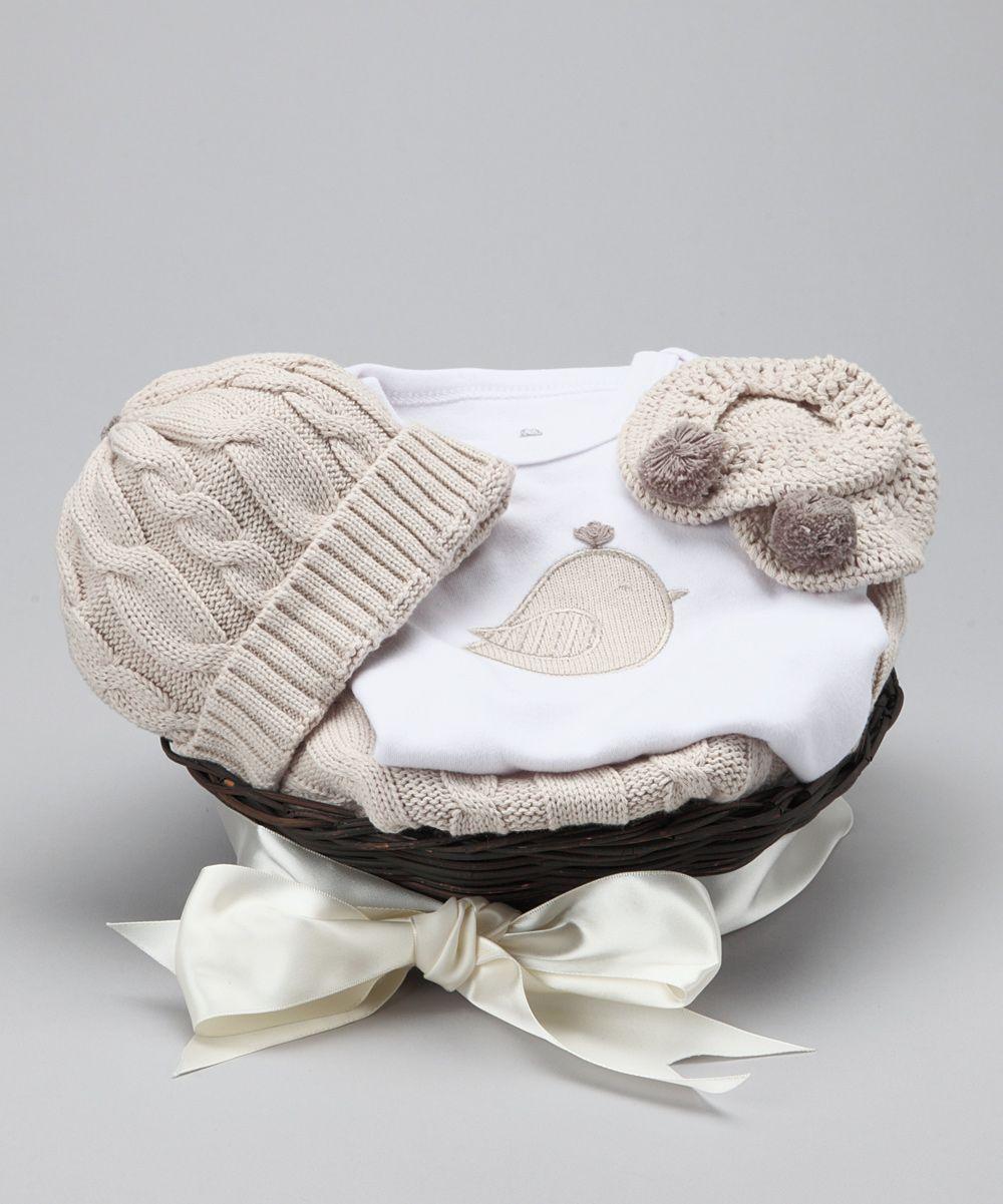 White Feathering the Nest Bodysuit Gift Set