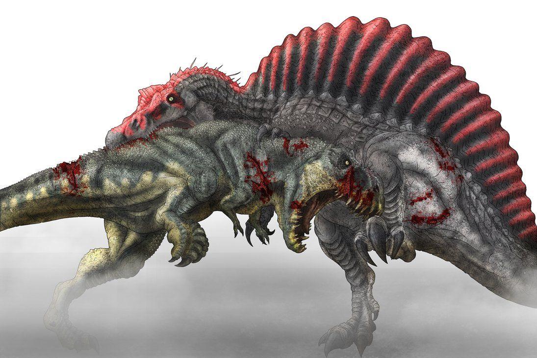 tyrannosaurus rex vs spinosaurus colored wipherschel