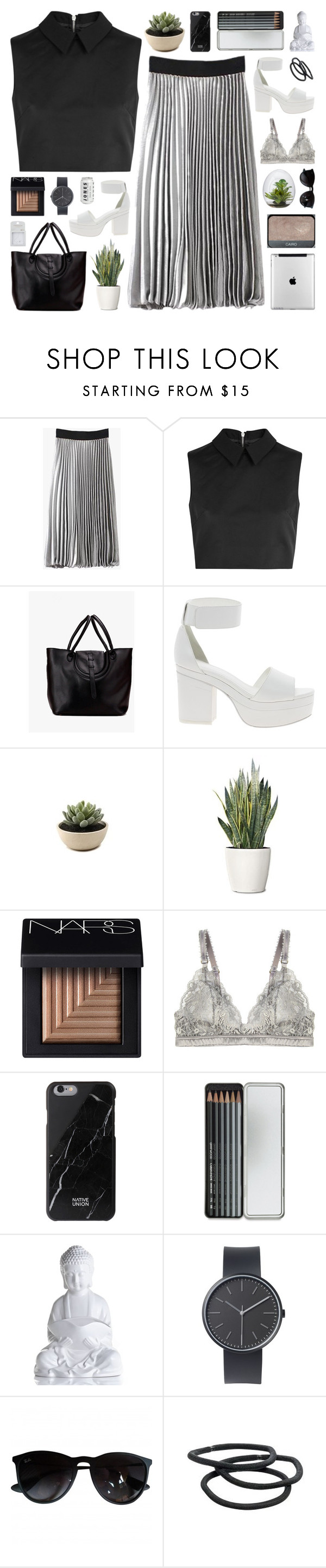 """""""Monochrome for business."""" by novalikarida ❤ liked on Polyvore featuring McQ by Alexander McQueen, ASOS, PLANT, NARS Cosmetics, STELLA McCARTNEY, Native Union, Caran D'Ache, Uniform Wares, Ray-Ban and Goody"""