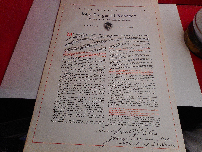 Jfk Parchment Inaugural Address Vintage Kennedy Inaugural