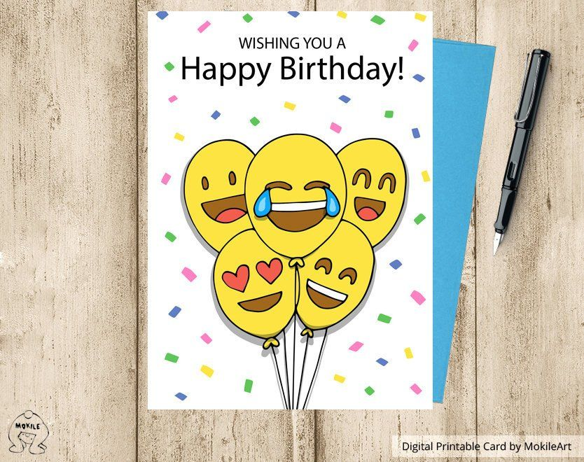 Emoji Printables Printable Birthday Cards Instant Download Digital Template Card CardHappy Smiley