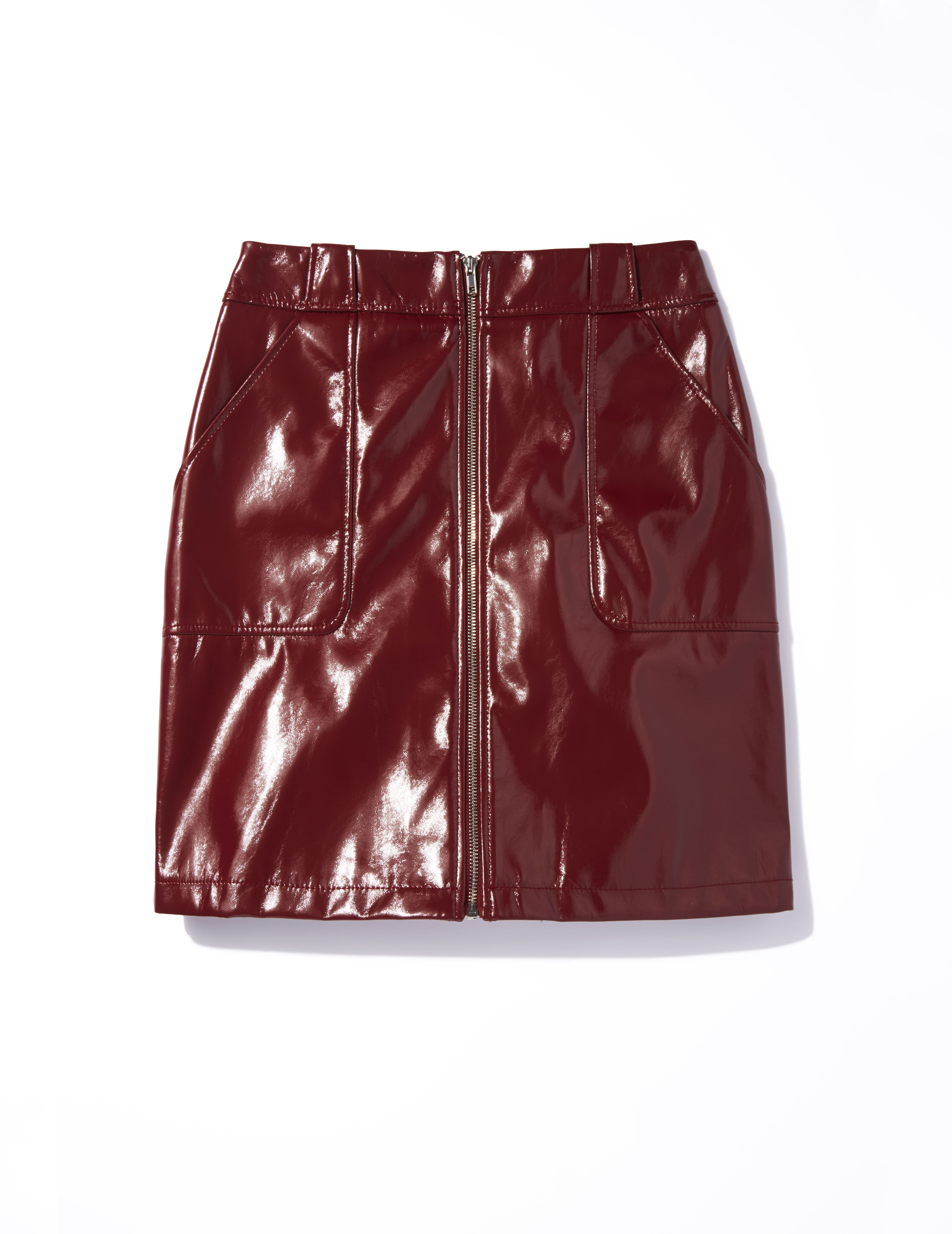 0f230633ba96 Wear Dorothy Perkins  rich red PU light-reflecting skirt with a tucked-in  T-shirt