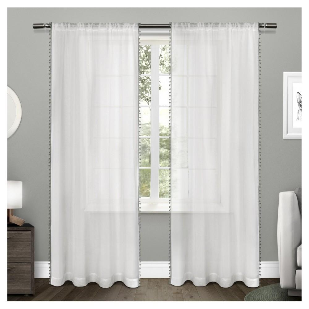 Sheer pom pom curtain panels pair products pinterest pom pom