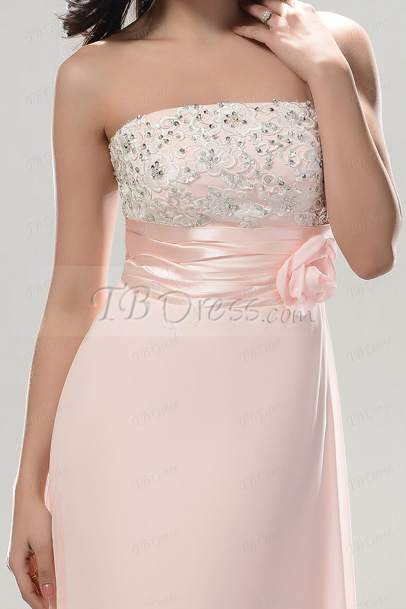 Aline strapless flower embroidery long prom dress long prom