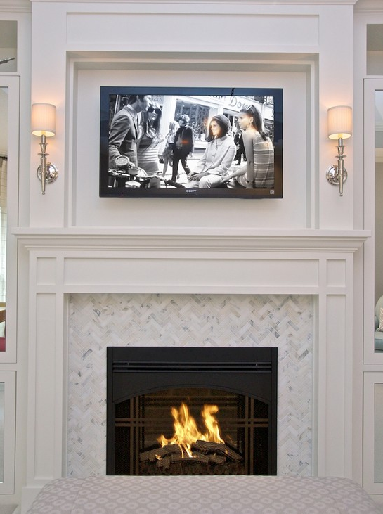 I Like The Herringbone Pattern Around Fireplace Minus TV COTTAGE AND VINE Client Inspiration Surrounds Built Ins