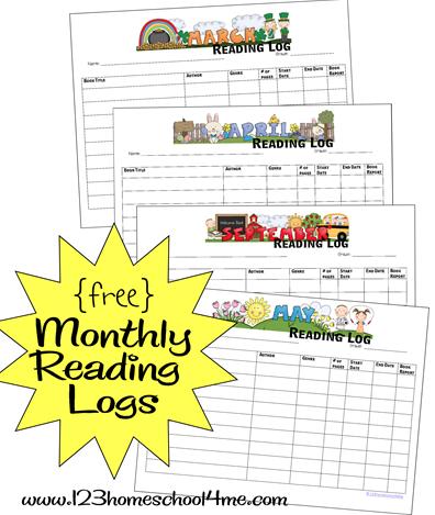 Free printable monthly reading logs Kindergarten reading