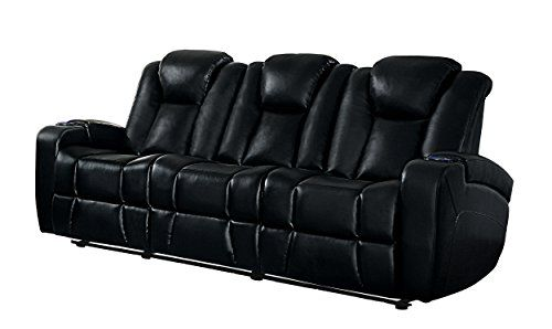 Black Reclining Sofa With Console Chenille Bed Homelegance Madoc Modern Power Double Leather Gel Match Drop Down Center Cup Holders