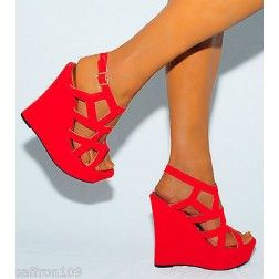 a722b6b393b LADIES BRIGHT RED CUTOUT SUEDE WEDGES WEDGES SUMMER STRAPPY PLATFORMS HIGH  HEELS