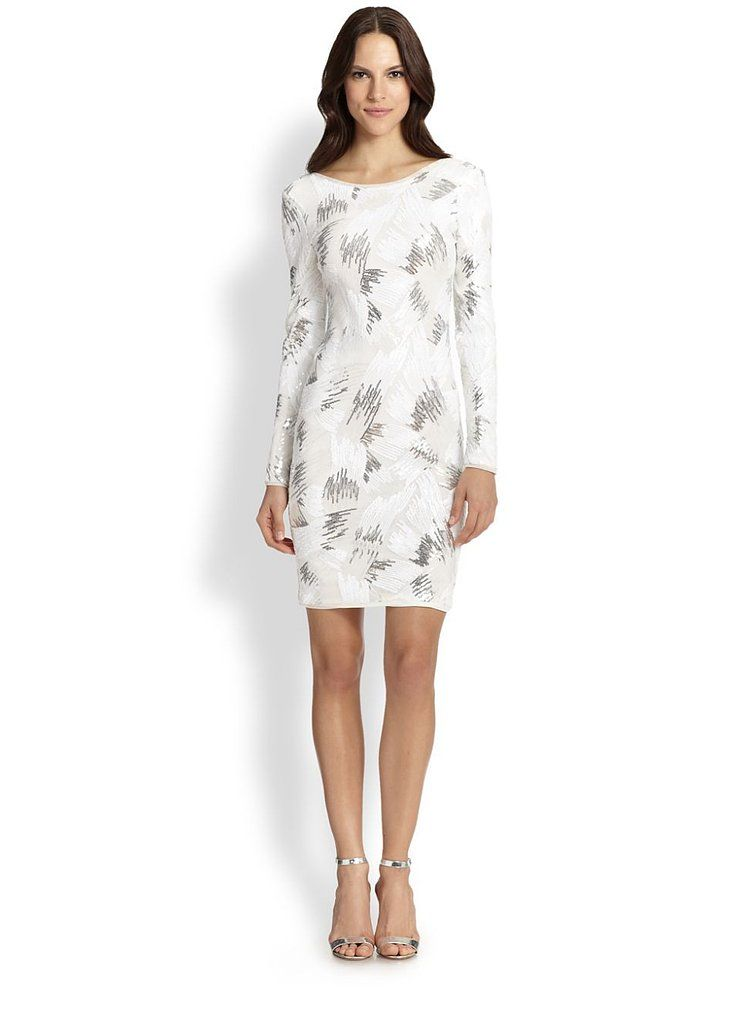 8da9d95c183c BCBG Max Azria s long-sleeve cocktail dress is Winter-white and just flashy  enough!