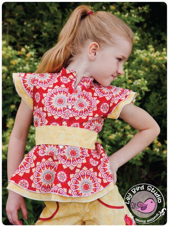 Lily Bird Studio PDF sewing pattern Amy\'s peplum top / blouse - 12 ...