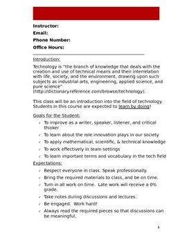 Technology Class Syllabus Doc With Images Class Syllabus