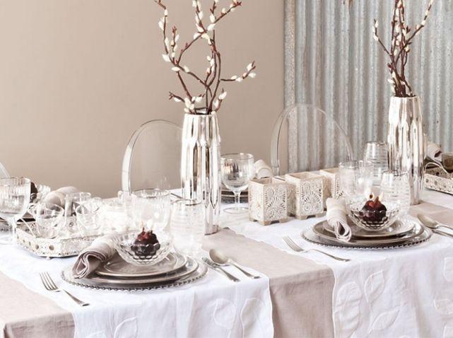 Table mariage taupe blanc zara mariage emma pinterest - Deco table blanc ...