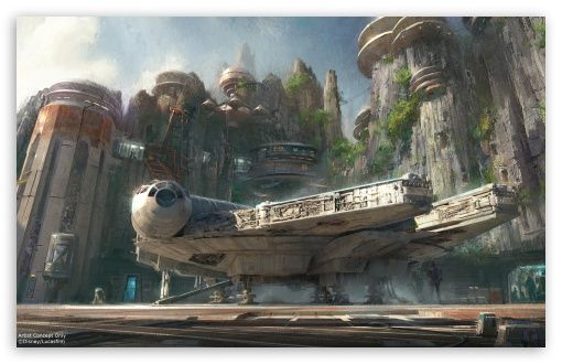 Millennium Falcon Docked Hd Desktop Wallpaper Widescreen High Definition Mobile Disney Star Wars Land Disneyland Star Wars Star Wars Concept Art