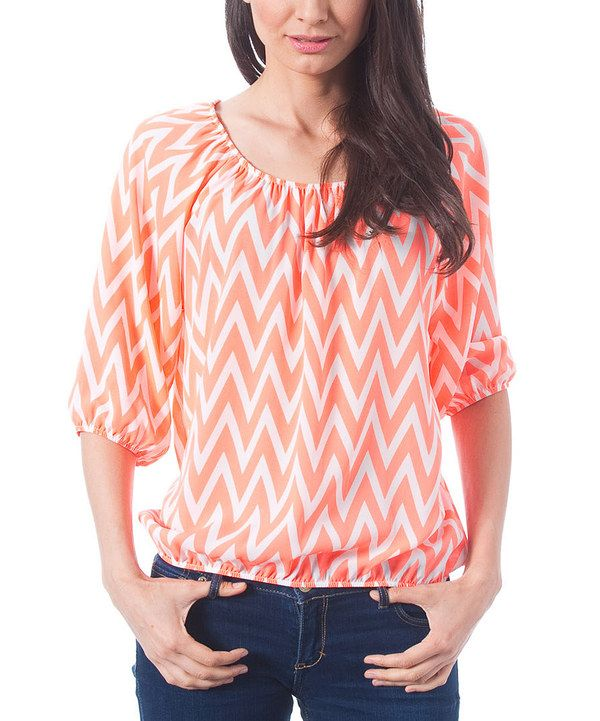 $19.99 Magic Fit Neon & White Zigzag Scoop Neck Top by Magic Fit
