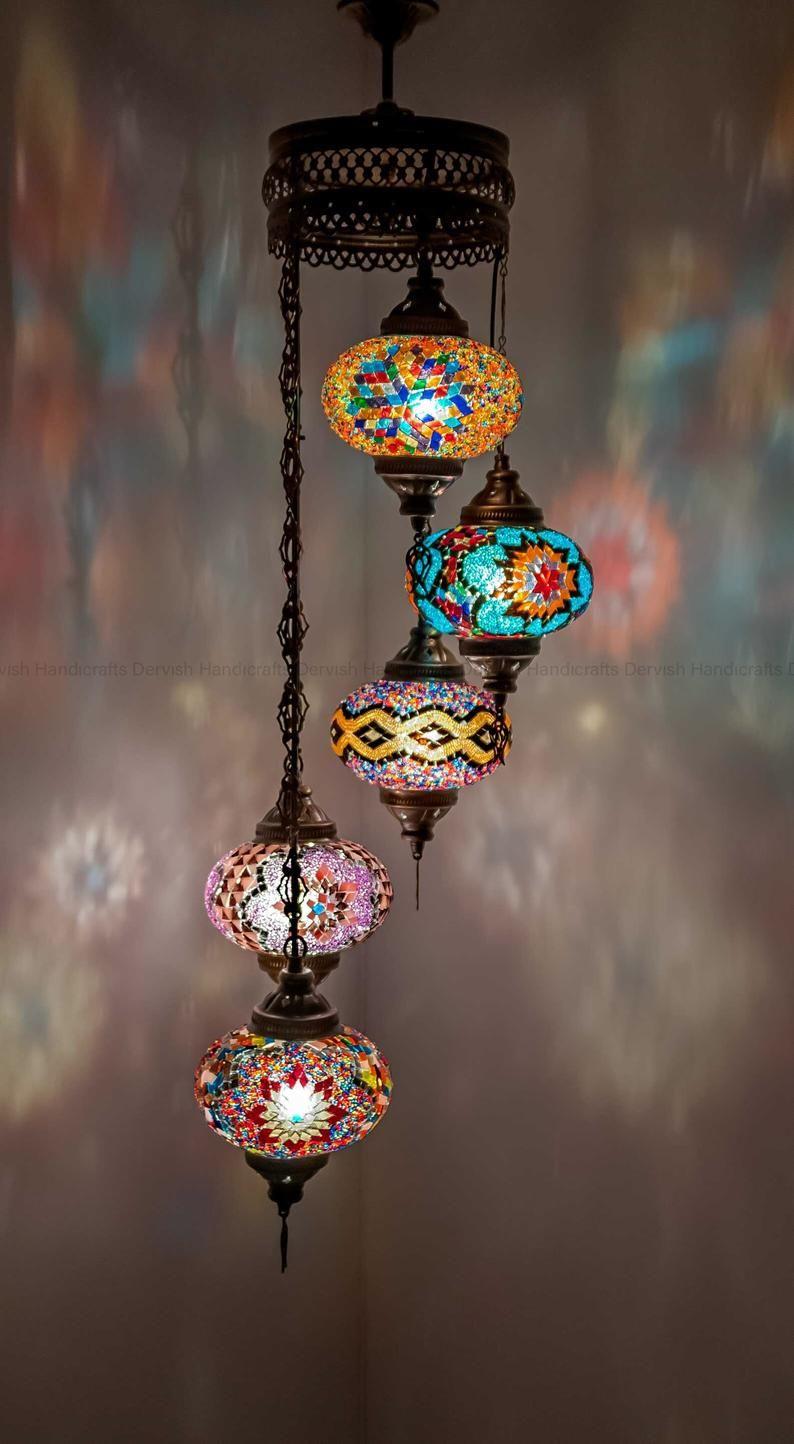 "Hanging Lamp Turkish Lamp Moroccan Lamp Hanging Ceiling Light 25"" Height, Customizable Mosaic Glasses"