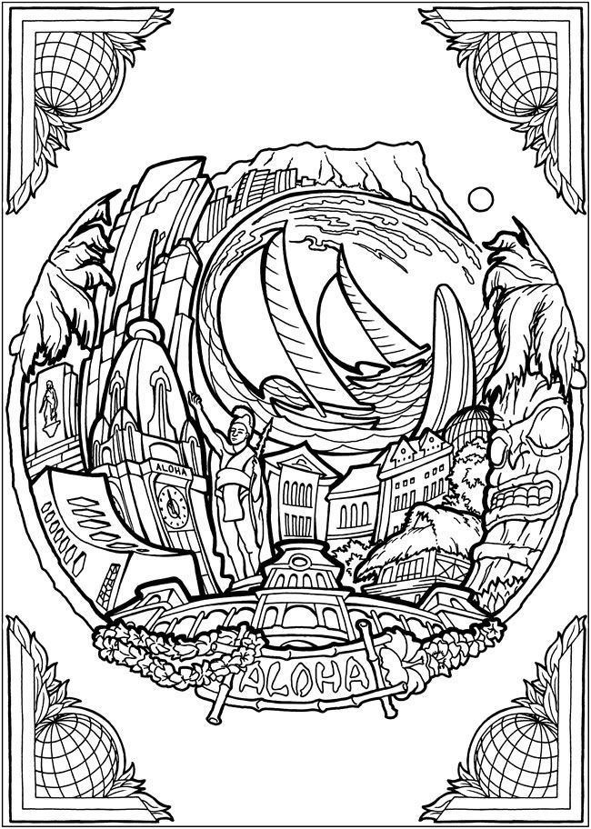 Hawaii | Adult Art Coloring Page | COLOR | Pinterest