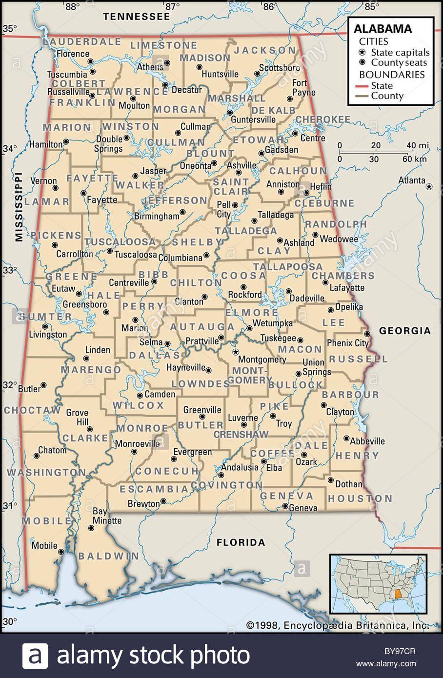 Political Map Of Alabama Stock Photo Gea Maps Pinterest